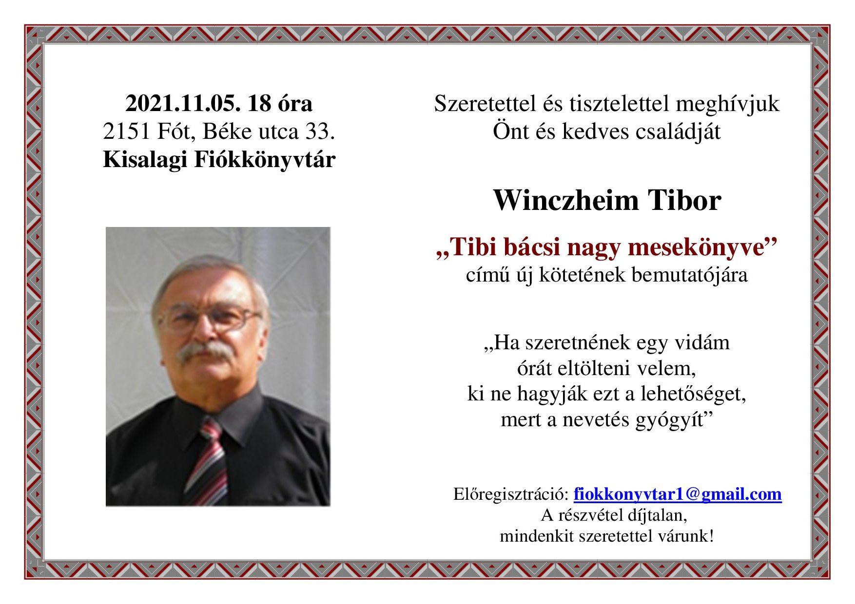 Winczheim Tibor irodalmi estje nagy betűkkel